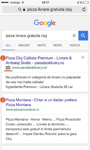 Reclamă AdWords afișată la o căutare pe Google