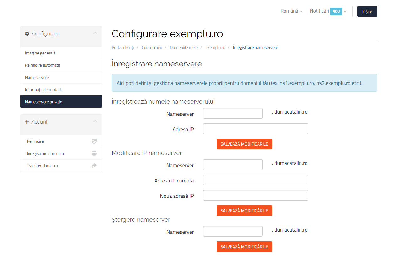 Configurare nameservere private Hosterion