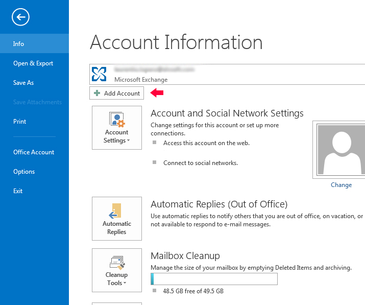 Outlook 2013 email add